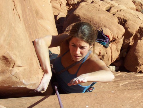 Sarah Felchlin after the crux 5.10b hands/off hands section and before...