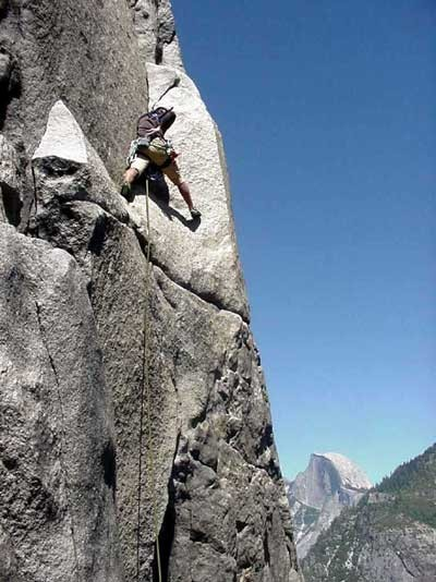 Marshall Minobe leading Pitch 7 of El Capitan's East Buttress with Hal...