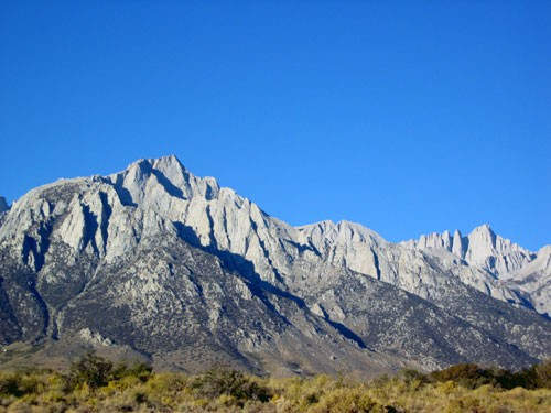 the view from Whitney Portal Rd. Lone Pine Peak dominates the photo wi...