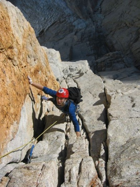 Eric Volz following Pitch 3 of the Harding Route, Keeler Needle wearin...