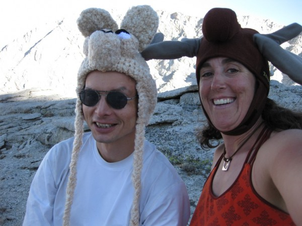 Me and Laura being silly on Thor Peak's summit plateau