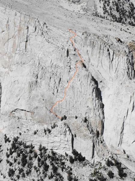 Stemwinder (I, 5.4) on Thor Peak, as viewed from Candlelight Peak