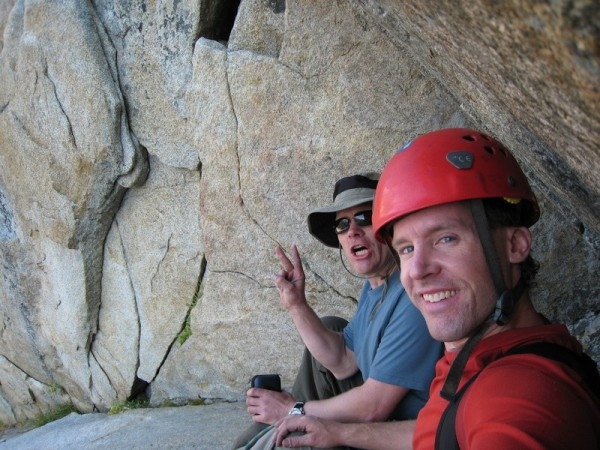 Clemens (on the left) and Tad chilling at the top of P1 of our...