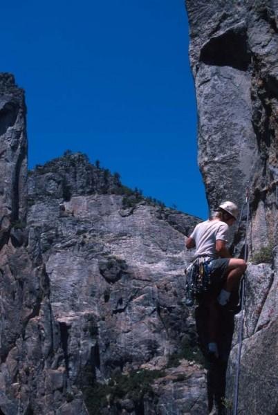 Climbing on Pitch 3.