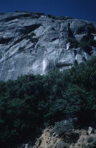 Lunatic Fringe climbs the distinct white streak.