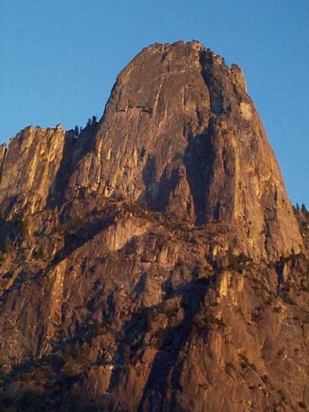 The awesome north face of Sentinel at sunset.