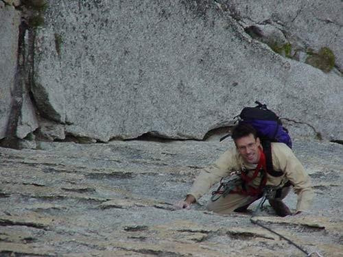 Joe Geary climbing 5.7 R face Pitch 2.