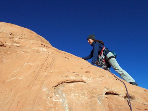 Sarah Felchlin leads the last fifteen feet of 5.5 to the summit. Note ...