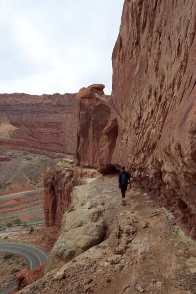 Sarah Felchlin walking toward Three Penguins on the approach ledge. Pa...