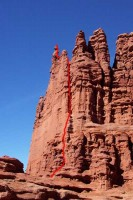 Stolen Chimney - Ancient Art 5.8 A0 - Desert Towers, Utah, USA. Click to Enlarge