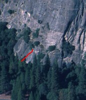Church Bowl - Church Bowl Lieback 5.8 - Yosemite Valley, California USA. Click to Enlarge