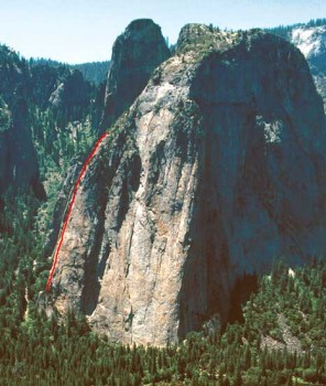 Middle Cathedral - East Buttress 5.10c or 5.9 A0 - Yosemite Valley, California USA. Click to Enlarge