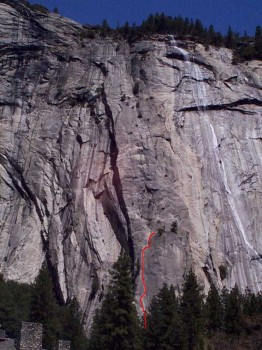 Royal Arches Area - Serenity Crack 5.10d - Yosemite Valley, California USA. Click to Enlarge