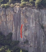The Cookie Cliff - Red Zinger 5.11d - Yosemite Valley, California USA. Click to Enlarge