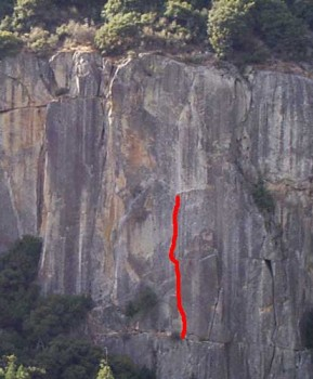 The Cookie Cliff - Waverly Wafer 5.11a - Yosemite Valley, California USA. Click to Enlarge