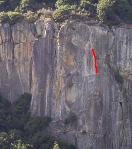 The Cookie Cliff - Wheat Thin 5.10c - Yosemite Valley, California USA. Click to Enlarge