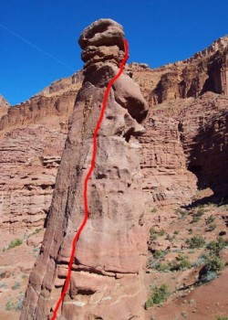 Fisher Towers, Lizard Rock - Entry Fee 5.8 R - Desert Towers, Utah, USA. Click to Enlarge
