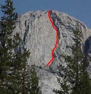 Mariuolumne Dome - Mmmm...Crackahol 5.9 or 5.10a - Tuolumne Meadows, California USA. Click to Enlarge