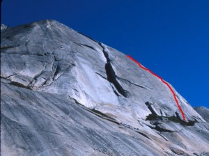 Stately Pleasure Dome - Dixie Peach 5.9 R - Tuolumne Meadows, California USA. Click to Enlarge