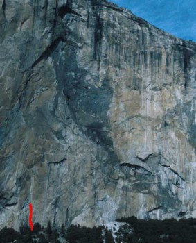 El Capitan - Pacific Ocean Wall Base 5.11b or C1 - Yosemite Valley, California USA. Click to Enlarge