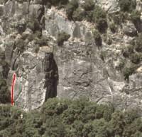 Pat and Jack Pinnacle - Sherrie's Crack 5.10c - Yosemite Valley, California USA. Click to Enlarge