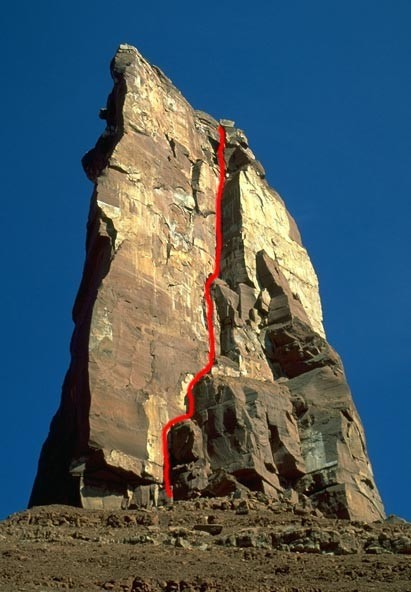 A view of Kor-Ingalls route on Castleton Tower with the route shown in...