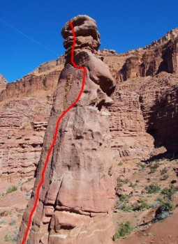 Fisher Towers, Lizard Rock - Leapin' Lizards 5.10a R - Desert Towers, Utah, USA. Click to Enlarge