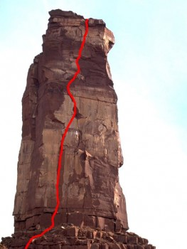 Castleton Tower - North Face 5.11c - Desert Towers, Utah, USA. Click to Enlarge