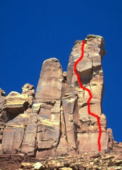 North Six Shooter - Lightning Bolt Cracks 5.11b - Desert Towers, Utah, USA. Click to Enlarge