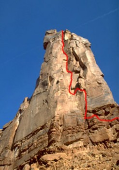 Moses - Primrose Dihedrals 5.11d - Desert Towers, Utah, USA. Click to Enlarge