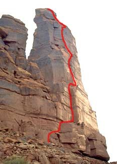 Sister Superior - Jah Man 5.10c - Desert Towers, Utah, USA. Click to Enlarge