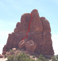 Off Balanced Rock - Northeast Chimney 5.7 R - Desert Towers, Utah, USA. Click to Enlarge