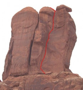 Three Penguins - Right Chimney 5.10c - Desert Towers, Utah, USA. Click to Enlarge