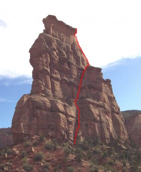 Independence Monument - Otto's Route 5.9 - Desert Towers, Utah, USA. Click to Enlarge