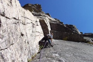 Todd Offenbacher leads the wild last pitch of Scimitar. The route goes...