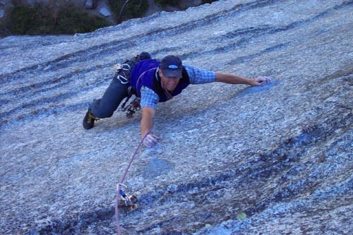 Todd Offenbacher at the runout crux of the first pitch.
