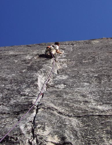 Chris McNamara nears the first pitch crux of End of The Line.