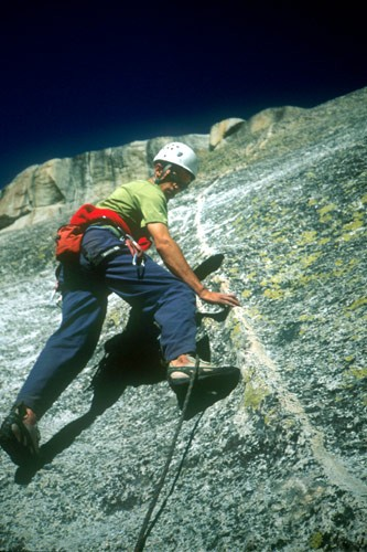 Chris McNamara starting up the second pitch of the Dike Route.
