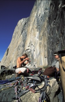 Leo Houlding racking up at the base of El Capitan's southeast face for...
