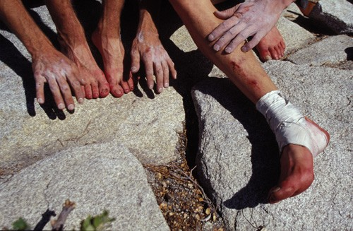 Hands and feet belonging to Dean Potter and Timmy O�Niel after breakin...