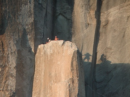 Two climbers enjoying the soft evening light on El Capitan Spire on th...