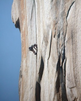 A climber leading pitch 30 of the Salathé Wall which ascends most of t...