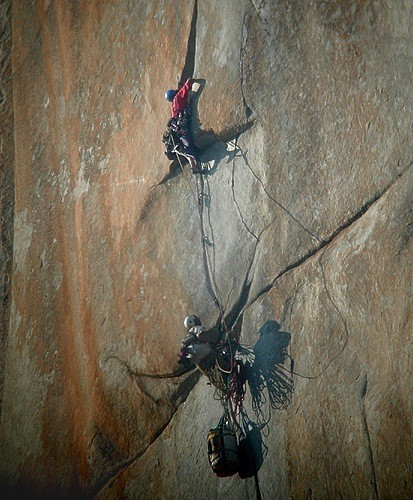 A climber leading pitch 31, the last pitch on the Salathé Headwall, on...