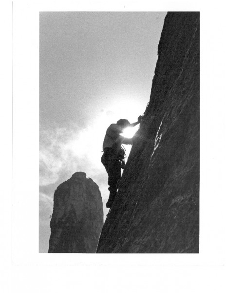 East Buttress of Middle Catherdal Rock.  Free climbing the bolt ladder...