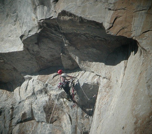 This is the first in a sequence of three photos that shows a climber a...