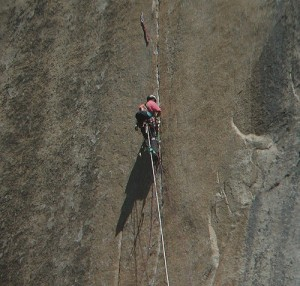 A climber nears the end of the Triple Cracks pitch of The Shield. This...