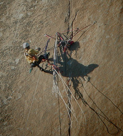 A climber hauling at belay 12 on The Shield. This is an example of a g...