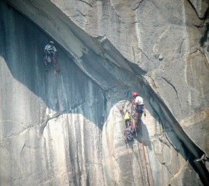 While it appears this climber is leading the fourth pitch of Tangerine...
