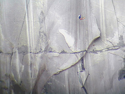 A climber jumaring the Nipple Pitch, pitch 10 of the Zodiac. This pitc...