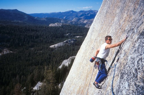 Mark Kroese on Cibolla (5.10c) in Tuolumne Meadows. This route...